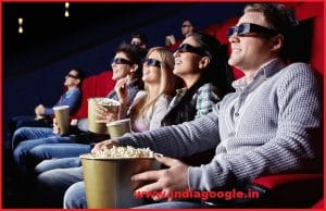 Young people watch movies in cinema